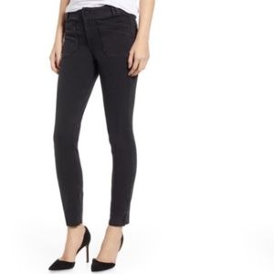 Paige Hoxton black ankle zip raw hem skinny jeans